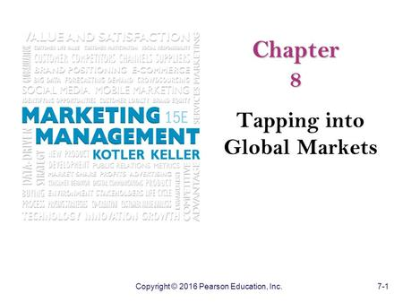 Copyright © 2016 Pearson Education, Inc. 7-1 Chapter 8 Tapping into Global Markets.