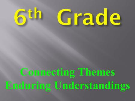 Connecting Themes Enduring Understandings. NAMEDATE CLASS PERIOD The World Around Me S.S. QUIZ.