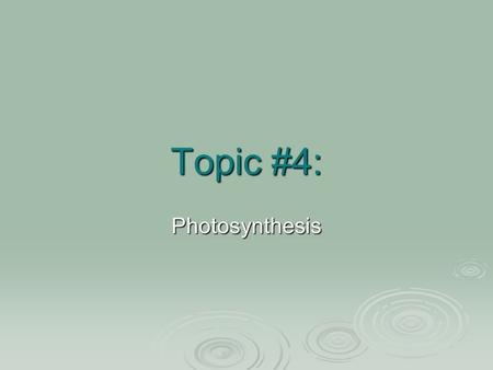 Topic #4: Photosynthesis. Topic Question+ How do plants and other organisms capture light from the sun?