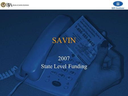 SAVIN 2007 State Level Funding. 27 SAVIN Programs Current SAVIN programs.
