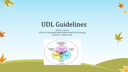 UDL Guidelines Debra L. LaFever EDU620: Meeting Individual Student Needs With Technology Instructor: Tamara Carter.