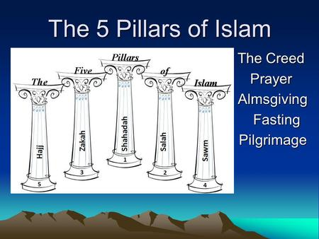 The 5 Pillars of Islam The Creed The Creed Prayer Prayer Almsgiving Almsgiving Fasting Fasting Pilgrimage Pilgrimage.