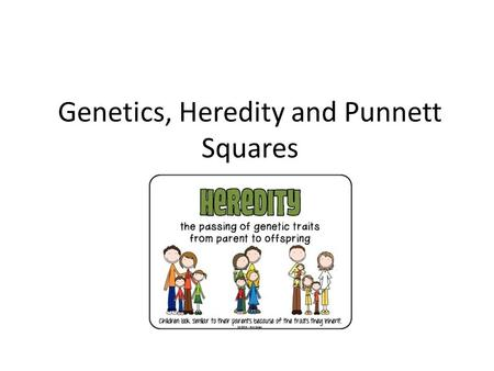 Genetics, Heredity and Punnett Squares. Why / How do populations change over time? GENES! Genetics is the science of heredity (the passing on of genetic.