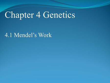 Chapter 4 Genetics 4.1 Mendel's Work. POINT > Describe who Gregor Mendel was POINT > Define heredity, trait, and genetics POINT > Explain why pea plants.