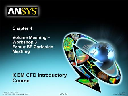 WS4.3-1 ANSYS, Inc. Proprietary © 2009 ANSYS, Inc. All rights reserved. July 2009 Inventory #002664 Chapter 4 Volume Meshing – Workshop 3 Femur BF Cartesian.