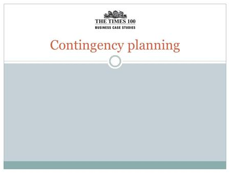 Contingency planning. Contingency planning is the process of preparing an organisation for unexpected or unwanted events.