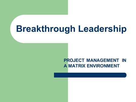 Breakthrough Leadership PROJECT MANAGEMENT IN A MATRIX ENVIRONMENT.