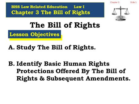 Chapter 3Slide 1 The Bill of Rights A.Study The Bill of Rights. B.Identify Basic Human Rights Protections Offered By The Bill of Rights & Subsequent Amendments.