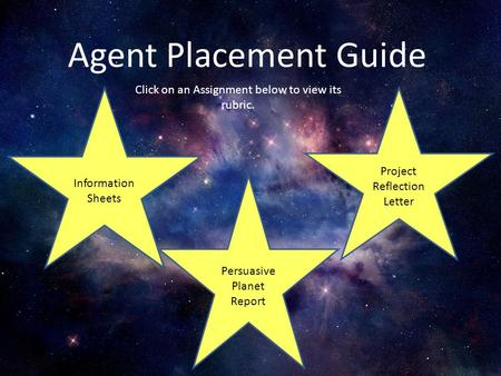 Agent Placement Guide Click on an Assignment below to view its rubric. Information Sheets Persuasive Planet Report Project Reflection Letter.