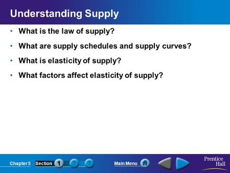 Chapter 5SectionMain Menu Understanding Supply What is the law of supply? What are supply schedules and supply curves? What is elasticity of supply? What.