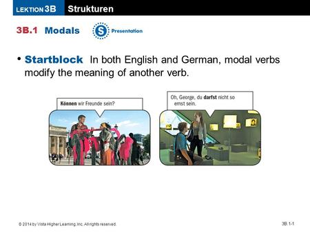Strukturen 3B.1 LEKTION 3B © 2014 by Vista Higher Learning, Inc. All rights reserved. 3B.1-1 Modals Startblock In both English and German, modal verbs.