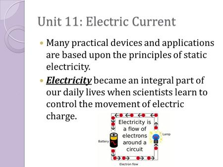 Unit 11: Electric Current Many practical devices and applications are based upon the principles of static electricity. Electricity became an integral part.