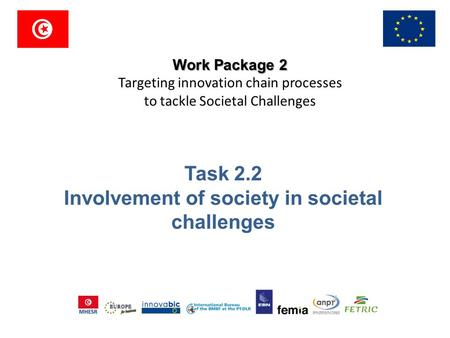 Work Package 2 Targeting innovation chain processes to tackle Societal Challenges Task 2.2 Involvement of society in societal challenges.
