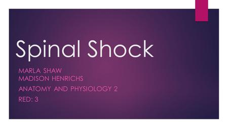 Spinal Shock MARLA SHAW MADISON HENRICHS ANATOMY AND PHYSIOLOGY 2 RED: 3.