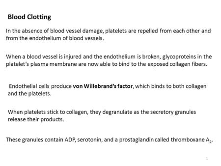 Blood Clotting In the absence of blood vessel damage, platelets are repelled from each other and from the endothelium of blood vessels. When a blood vessel.