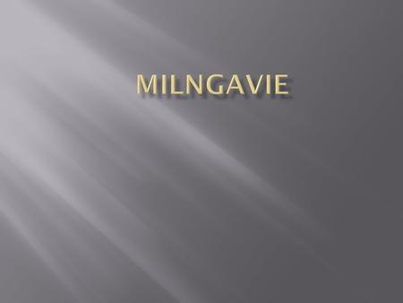  Milngavie is a small town  It is about 6 miles outside of Glasgow  There is about 14,000 people living in Milngavie  There are lots of great shops.