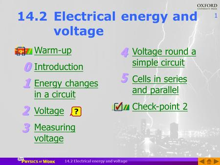 1 14.2 Electrical energy and voltage Warm-up Introduction Energy changes in a circuit Voltage Measuring voltage ? Voltage round a simple circuit Cells.