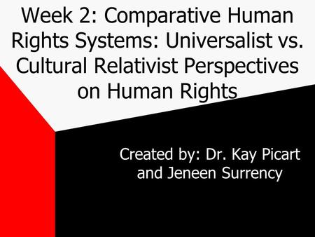 Week 2: Comparative Human Rights Systems: Universalist vs. Cultural Relativist Perspectives on Human Rights Created by: Dr. Kay Picart and Jeneen Surrency.