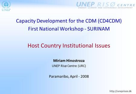 Capacity Development for the CDM (CD4CDM) First National Workshop - SURINAM Host Country Institutional Issues Miriam Hinostroza UNEP.