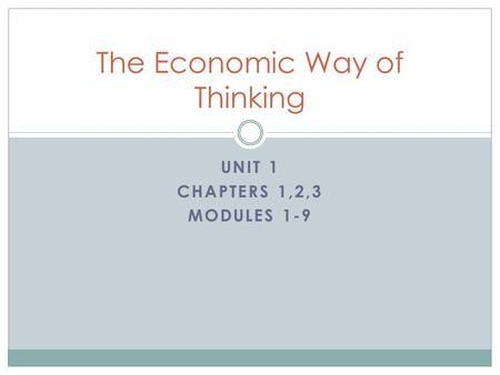 UNIT 1 CHAPTERS 1,2,3 MODULES 1-9 The Economic Way of Thinking.