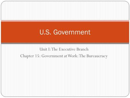 Unit I: The Executive Branch Chapter 15: Government at Work: The Bureaucracy U.S. Government.