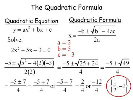 The Quadratic Formula Quadratic Equation Quadratic Formula.