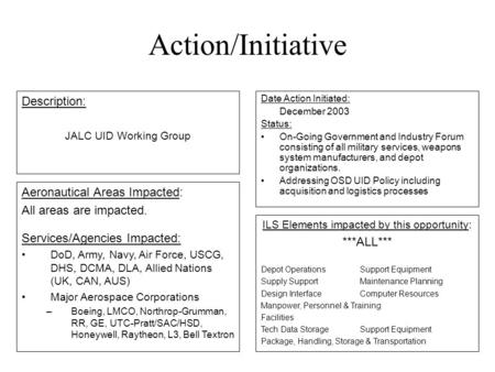 Action/Initiative Date Action Initiated: December 2003 Status: On-Going Government and Industry Forum consisting of all military services, weapons system.
