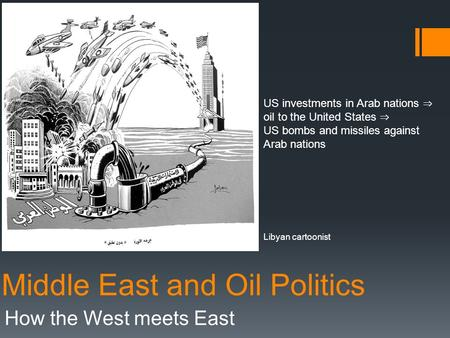 Middle East and Oil Politics How the West meets East US investments in Arab nations ⇒ oil to the United States ⇒ US bombs and missiles against Arab nations.