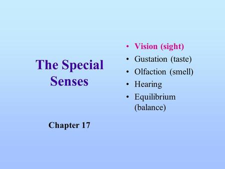 The Special Senses Vision (sight) Gustation (taste) Olfaction (smell) Hearing Equilibrium (balance) Chapter 17.