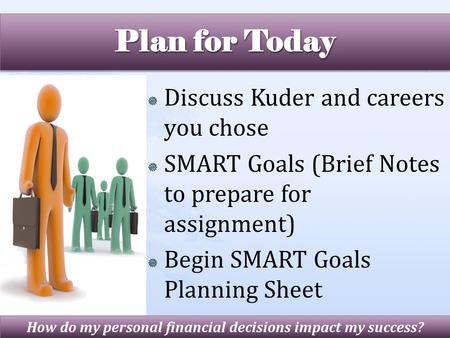  Discuss Kuder and careers you chose  SMART Goals (Brief Notes to prepare for assignment)  Begin SMART Goals Planning Sheet How do my personal financial.