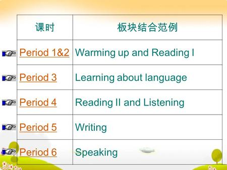 课时板块结合范例 Period 1&2Warming up and Reading I Period 3Learning about language Period 4Reading II and Listening Period 5Writing Period 6Speaking.