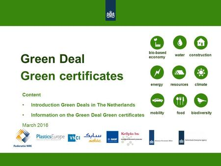Green Deal Green certificates energyresourcesclimate biodiversitymobilityfood bio-based economy constructionwater Content Introduction Green Deals in The.