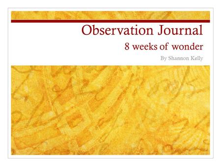 Observation Journal 8 weeks of wonder By Shannon Kelly.