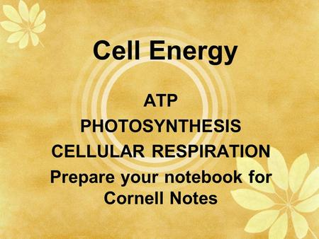 Cell Energy ATP PHOTOSYNTHESIS CELLULAR RESPIRATION Prepare your notebook for Cornell Notes.