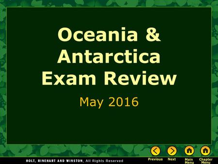 Oceania & Antarctica Exam Review May 2016. Study This.