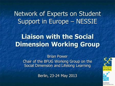 Network of Experts on Student Support in Europe – NESSIE Liaison with the Social Dimension Working Group Brian Power Chair of the BFUG Working Group on.