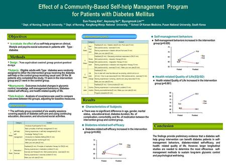 Effect of a Community-Based Self-help Management Program for Patients with Diabetes Mellitus Effect of a Community-Based Self-help Management Program for.