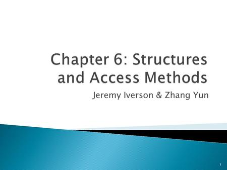 Jeremy Iverson & Zhang Yun 1.  Chapter 6 Key Concepts ◦ Structures and access methods ◦ R-Tree  R*-Tree  Mobile Object Indexing  Questions 2.