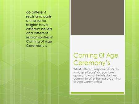 Coming 0f Age Ceremony's What different responsibility's do various religions' do you take upon and what beliefs do they commit to after having a Coming.