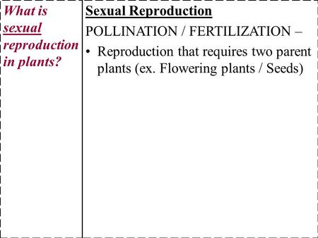 Sexual Reproduction POLLINATION / FERTILIZATION – Reproduction that requires two parent plants (ex. Flowering plants / Seeds) What is sexual reproduction.
