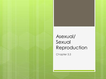 Asexual/ Sexual Reproduction Chapter 3.3. Warm-up 3/4  Behavior sheet on desk  Set up page 42 with page, date, and title: ASEXUAL VS SEXUAL REPRODUCTION.