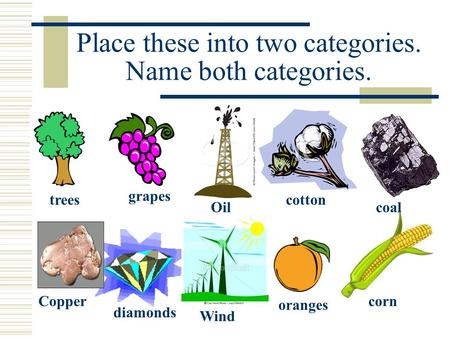 Place these into two categories. Name both categories. Oil Wind Copper coal trees grapes cotton diamonds oranges corn.