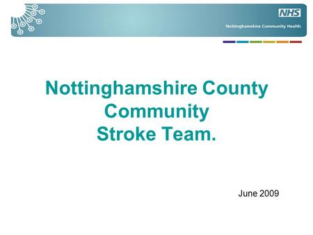 Nottinghamshire County Community Stroke Team. June 2009.