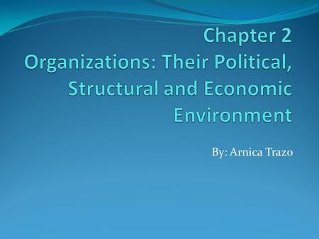 Chapter 2 Organizations: Their Political, Structural and Economic Environment By: Arnica Trazo.