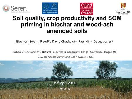Soil quality, crop productivity and SOM priming in biochar and wood-ash amended soils Eleanor (Swain) Reed 1*, David Chadwick 1, Paul Hill 1, Davey Jones.