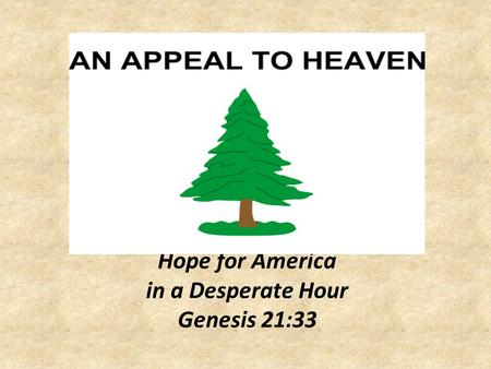 Hope for America in a Desperate Hour Genesis 21:33.