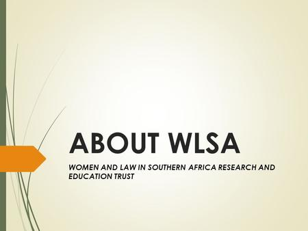 ABOUT WLSA WOMEN AND LAW IN SOUTHERN AFRICA RESEARCH AND EDUCATION TRUST.