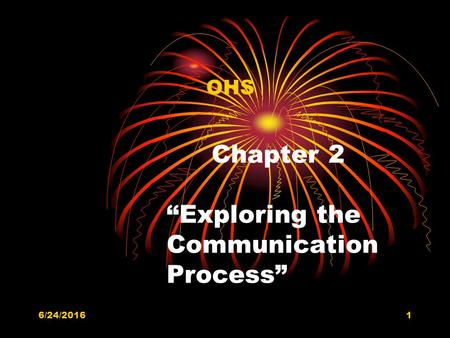 "6/24/20161 Chapter 2 ""Exploring the Communication Process"" OHS."