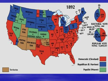 Election of 1892  Grover Cleveland (Dem)  Benjamin Harrison (Rep)  James B. Weaver (Populist)