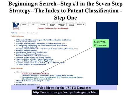 Beginning a Search--Step #1 in the Seven Step Strategy--The Index to Patent Classification - Step One Start with this source. Web address for the USPTO.